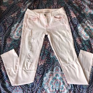 American Eagle Pink Distressed Jeggings